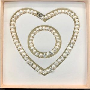 Lab Pearls Necklace and Bracelet set